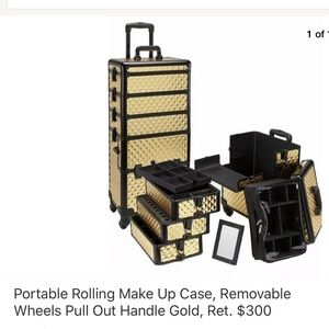 Portable travel make up case, pull out handle